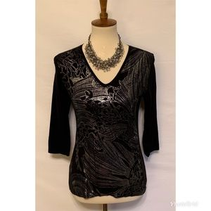 Tahari Black Silver Top Metallic Petite Small